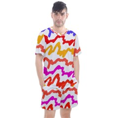 Multicolored Scribble Abstract Pattern Men s Mesh Tee And Shorts Set