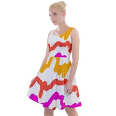 Multicolored Scribble Abstract Pattern Knee Length Skater Dress by dflcprintsclothing