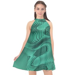 Biscay Green Swirls Halter Neckline Chiffon Dress  by SpinnyChairDesigns