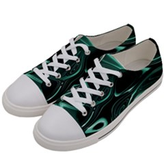Biscay Green Black Swirls Women s Low Top Canvas Sneakers by SpinnyChairDesigns