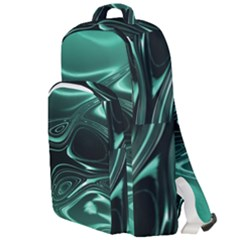 Biscay Green Black Swirls Double Compartment Backpack by SpinnyChairDesigns
