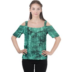 Biscay Green Black Textured Cutout Shoulder Tee