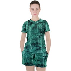 Biscay Green Black Textured Women s Tee And Shorts Set