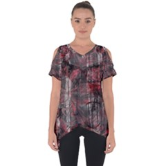 Red Black Abstract Texture Cut Out Side Drop Tee