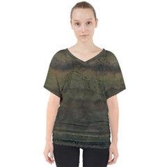 Army Green Grunge Texture V-neck Dolman Drape Top