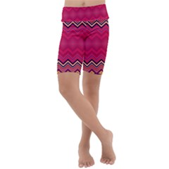 Boho Aztec Stripes Rose Pink Kids  Lightweight Velour Cropped Yoga Leggings by SpinnyChairDesigns