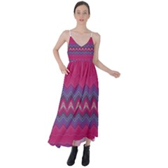 Magenta Blue Stripes Tie Back Maxi Dress by SpinnyChairDesigns
