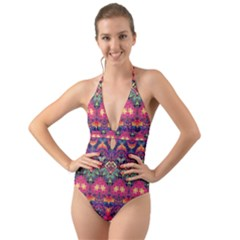 Boho Colorful Pattern Halter Cut-out One Piece Swimsuit by SpinnyChairDesigns