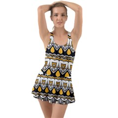 Boho Black White Yellow Ruffle Top Dress Swimsuit