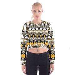 Boho Black White Yellow Cropped Sweatshirt by SpinnyChairDesigns