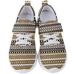 Boho Black Yellow Floral Print Women s Velcro Strap Shoes