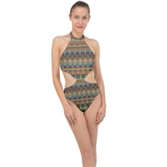 Boho Earth Colors Pattern Halter Side Cut Swimsuit by SpinnyChairDesigns