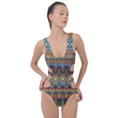 Boho Earth Colors Pattern Side Cut Out Swimsuit by SpinnyChairDesigns