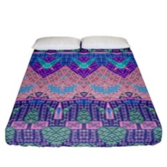 Boho Patchwork Violet Pink Green Fitted Sheet (california King Size)