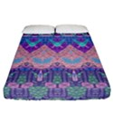 Boho Patchwork Violet Pink Green Fitted Sheet (California King Size) View1