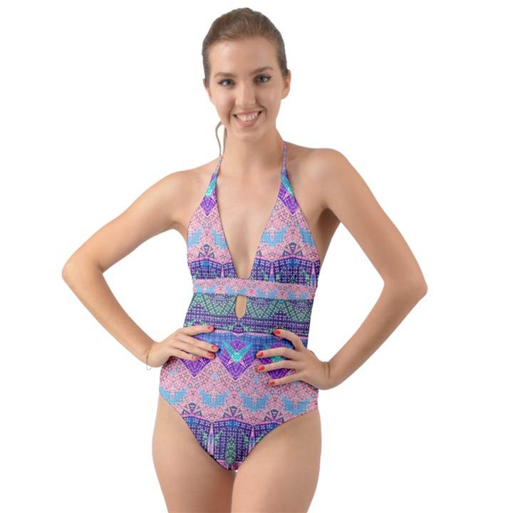 Boho Patchwork Violet Pink Green Halter Cut-Out One Piece Swimsuit