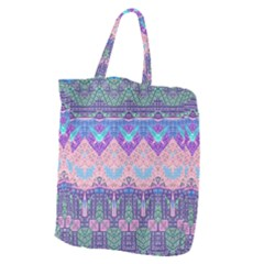 Boho Patchwork Violet Pink Green Giant Grocery Tote