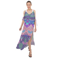 Boho Patchwork Violet Pink Green Maxi Chiffon Cover Up Dress