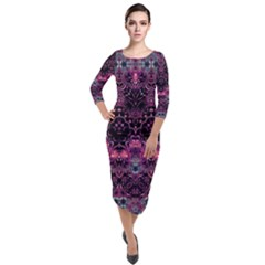 Boho Magenta Black Pattern Quarter Sleeve Midi Velour Bodycon Dress