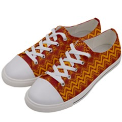Boho Red Gold Pattern Women s Low Top Canvas Sneakers by SpinnyChairDesigns