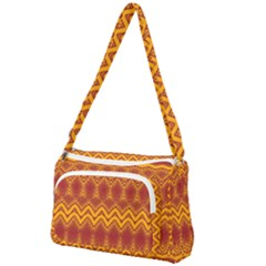 Boho Red Gold Pattern Front Pocket Crossbody Bag