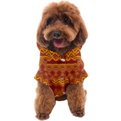 Boho Red Gold Pattern Dog Coat by SpinnyChairDesigns
