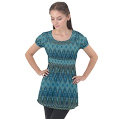 Boho Teal Blue Pattern Puff Sleeve Tunic Top