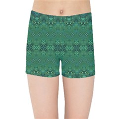 Boho Emerald Green And Blue  Kids  Sports Shorts by SpinnyChairDesigns