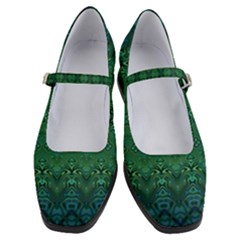 Boho Emerald Green And Blue  Women s Mary Jane Shoes
