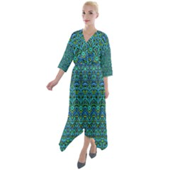 Boho Teal Green Blue Pattern Quarter Sleeve Wrap Front Maxi Dress by SpinnyChairDesigns