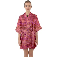 Boho Pink Pattern Half Sleeve Satin Kimono  by SpinnyChairDesigns