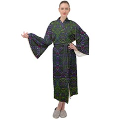 Boho Purple Green Pattern Maxi Velour Kimono by SpinnyChairDesigns