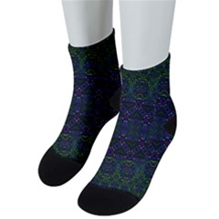 Boho Purple Green Pattern Men s Low Cut Socks