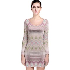 Boho Pastel Spring Floral Pink Long Sleeve Bodycon Dress
