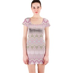 Boho Pastel Spring Floral Pink Short Sleeve Bodycon Dress