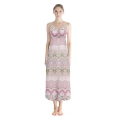 Boho Pastel Spring Floral Pink Button Up Chiffon Maxi Dress