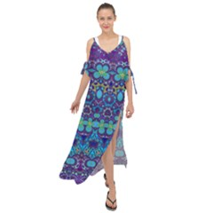 Boho Purple Blue Teal Floral Maxi Chiffon Cover Up Dress