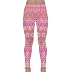 Boho Pink Floral Pattern Lightweight Velour Classic Yoga Leggings by SpinnyChairDesigns