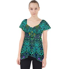 Boho Emerald Green Lace Front Dolly Top