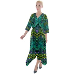 Boho Emerald Green Quarter Sleeve Wrap Front Maxi Dress