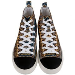 Boho Brown Blue Men s Mid-top Canvas Sneakers