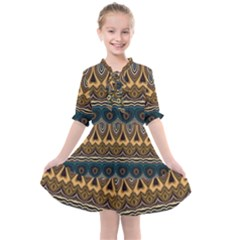 Boho Brown Blue Kids  All Frills Chiffon Dress by SpinnyChairDesigns