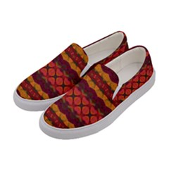 Boho Red Gold Women s Canvas Slip Ons by SpinnyChairDesigns