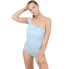 Boho Baby Blue Pattern Frilly One Shoulder Swimsuit by SpinnyChairDesigns