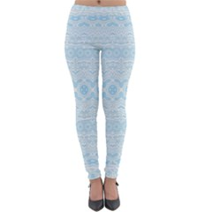 Boho Baby Blue Pattern Lightweight Velour Leggings by SpinnyChairDesigns