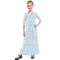 Boho Baby Blue Pattern Kids  Quarter Sleeve Maxi Dress by SpinnyChairDesigns