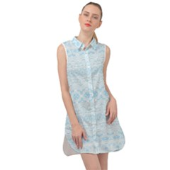 Boho Baby Blue Pattern Sleeveless Shirt Dress by SpinnyChairDesigns