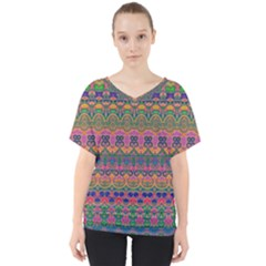 Boho Colorful Pattern V-neck Dolman Drape Top