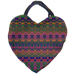 Boho Colorful Pattern Giant Heart Shaped Tote
