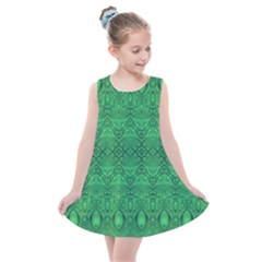Boho Emerald Green Kids  Summer Dress by SpinnyChairDesigns
